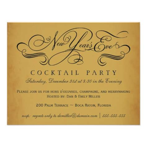 vintage cocktail party invitations new year s eve cocktail party vintage invitations 4 25 quot x