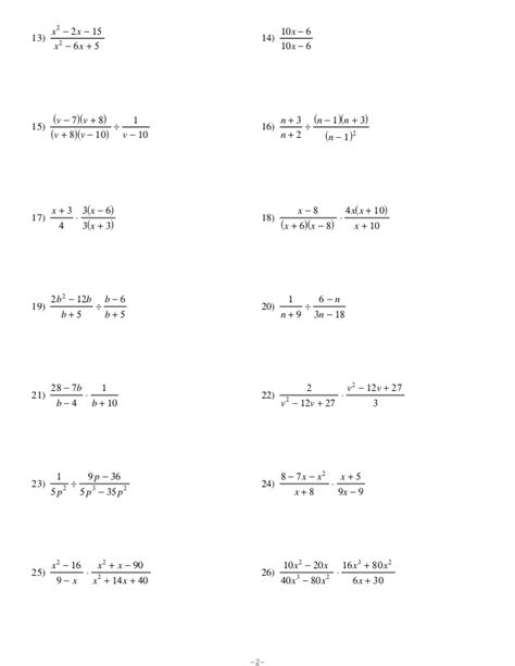 Adding And Subtracting Rational Expressions Worksheet