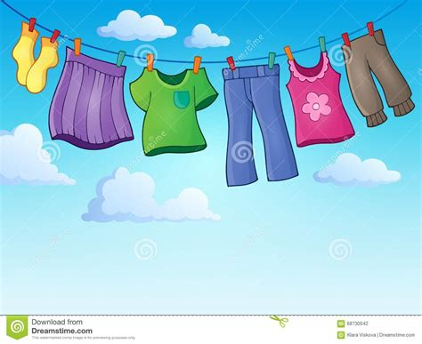 Themes Of Clothing Lines | clothes on clothing line theme image 2 vector illustration