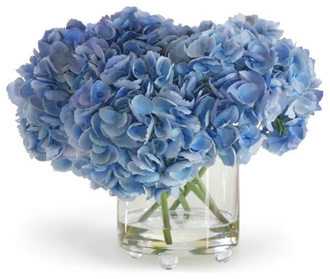 Blue Artificial Flowers In Vase by Hydrangea In Vase Blue Flower Arrangement Traditional
