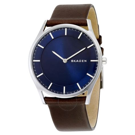 skagen holst blue brown leather s skw6237