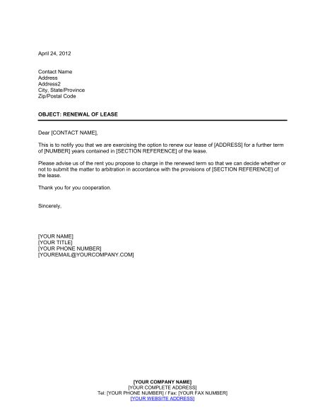 Letter Of Lease Renewal Exles Exercising Option To Renew Lease Template Sle Form Biztree