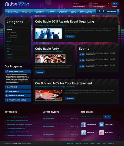 templates for radio website radio st v3 joomla template on behance