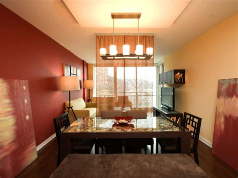 colors for living room and dining room red contemporary dining room with candle chandelier hgtv