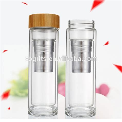 Wall Infuser Bottle Bamboo zogift borosilicate glass water bottle with bamboo lid