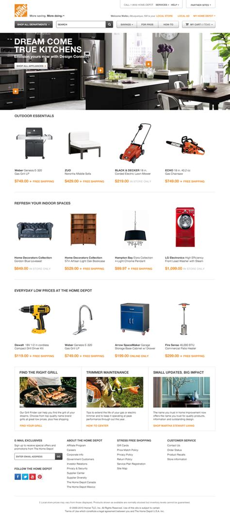 the home depot website on behance