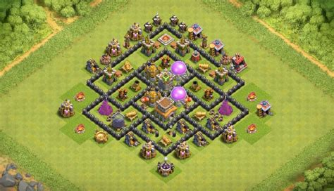 clash of clans th7 farming base best town hall 7 defense strategy 16 th7 to th11 farming trophy war base layouts for july