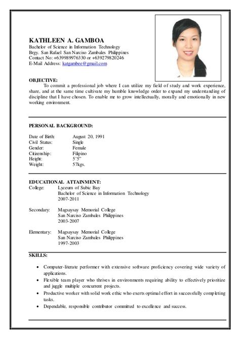 resume for information technology student resume ideas