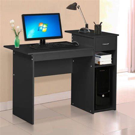small desk with drawers and shelves yaheetech small spaces home office black computer desk