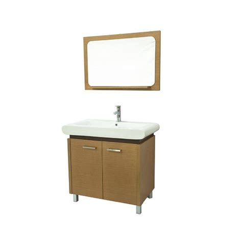bathroom mirrors new generation 35 w x 15 quot h frameless dreamwerks 36 in w x 19 in d vanity in tan with ceramic