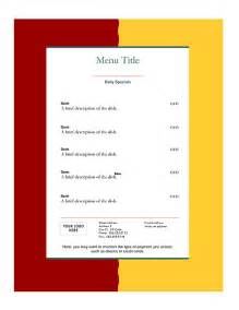 Restaurant Menu Templates Free Word by Menu Templates Free Http Webdesign14