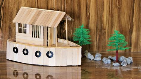 houseboat with icecream stick how to make a boat house using popsicle sticks youtube