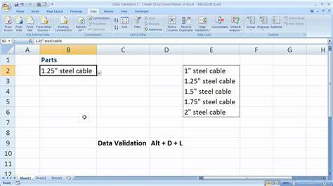 design menu excel data validation 1 create drop down menus in excel youtube