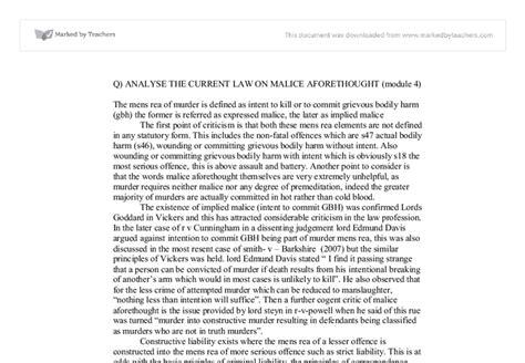 Murder Reform Essay Aqa by Aqa Module 4 Murder Mens Rea A Level Marked By Teachers