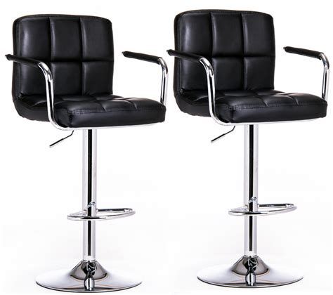 Black Leather High Back Bar Stools by 2 X Varossa Elegance High Back Bar Stools Black Set Of 2