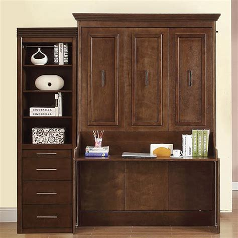 murphy bed and desk natanielle full murphy bed with desk and storage cabinet