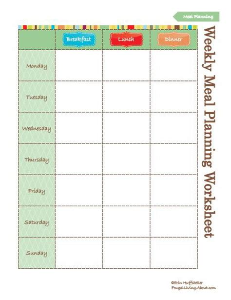 free printable meal planning worksheet 7 best images of menu planning free printable worksheets