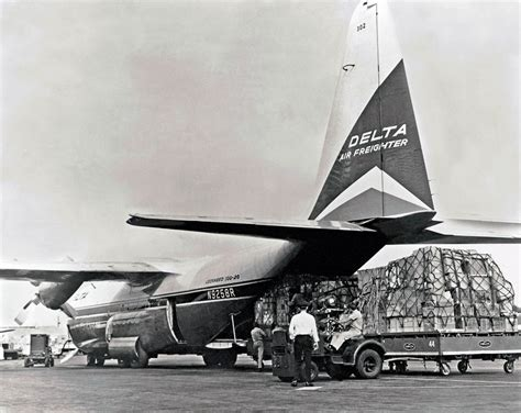 delta lockheed l 100 hercules freighter at miami 1960s air cargo history