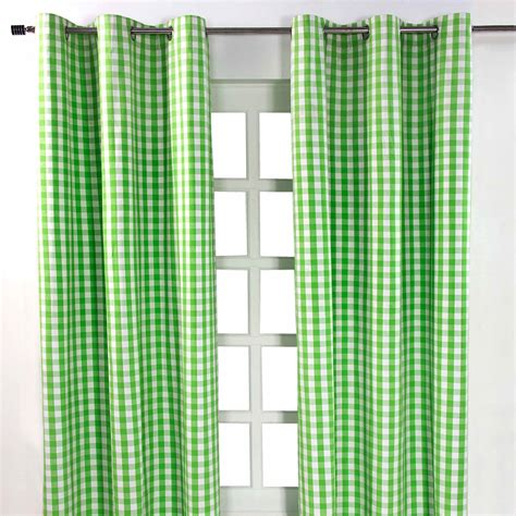 green orange curtains block check cotton ready made eyelet curtains blue pink