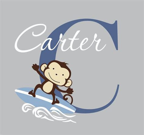 surfing wall stickers surfing monkey wall decal surfer decal custom name wall decal m