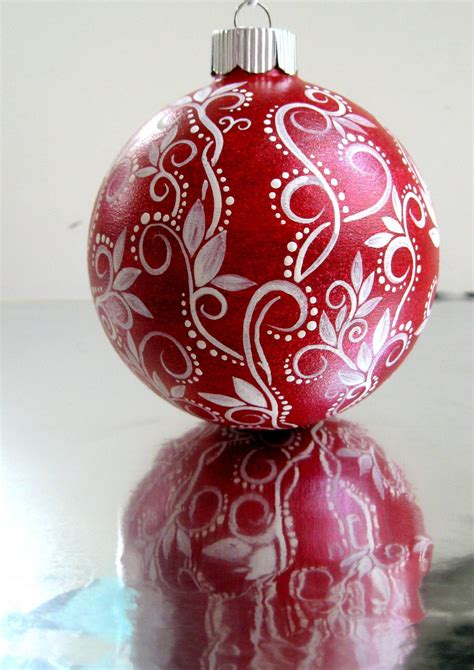 painted christmas balls and white ornament painted glass ornament
