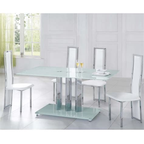 glass dining table trilogy and 4 chairs tuxedo