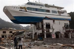 boat on building japan tsunami japan was hit by a tsunami formed from two giant waves