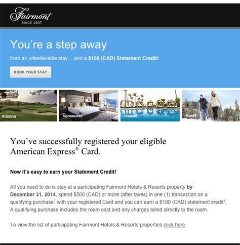 Sle Credit Card Statement Canada american express fairmont statement credit offer canada