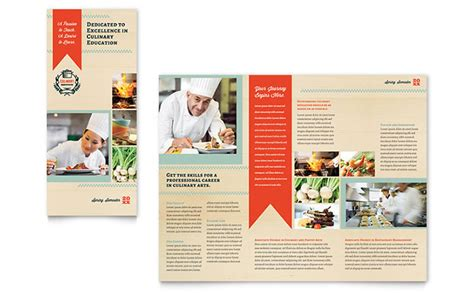 school brochure templates culinary school tri fold brochure template design