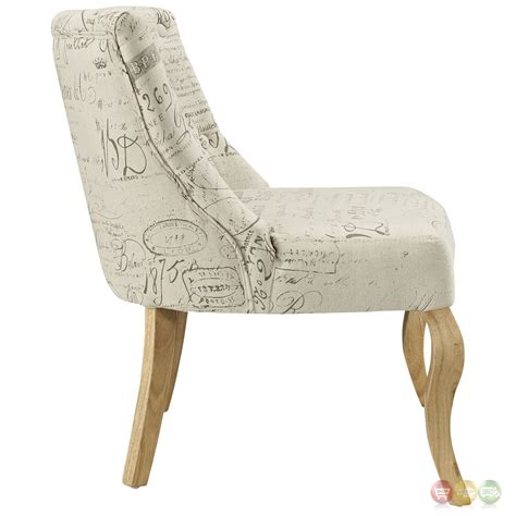 Patterned Accent Chair Royal Inspired Patterned Accent Chair With Curved Wood Legs White