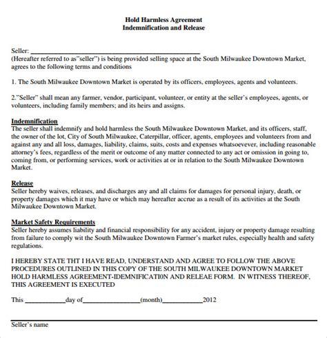 9 Sle Hold Harmless Agreements Sle Templates Hold Harmless Template
