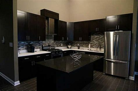 Modern Black Kitchen Cabinets modern kitchen with l shaped amp slate counters in fishers