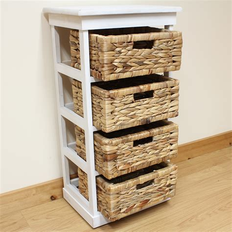 Wicker Storage Drawers Bathroom Hartleys Large White 4 Basket Chest Home Storage Unit Bathroom Wicker Drawers Ebay