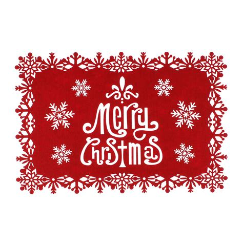 merry christmas red felt placemats with snowflake pattern