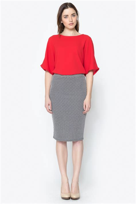 3 1 checkered midi pencil skirt from glendale by