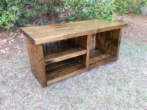 build a shoe bench rustic pallet bench with shoe rack 101 pallets