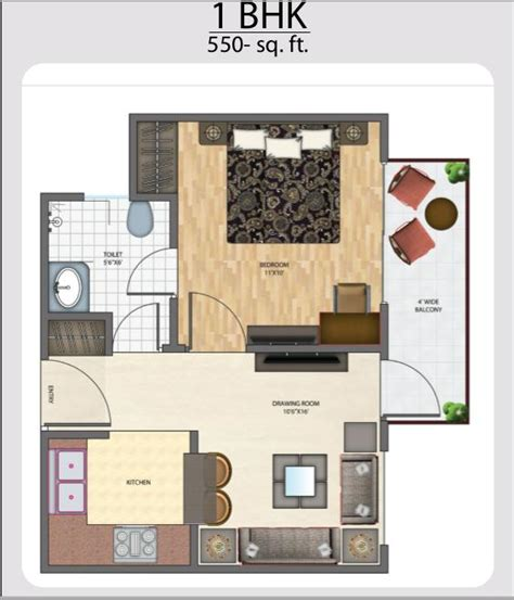 home design for 550 sqft brys indihomz floorplan
