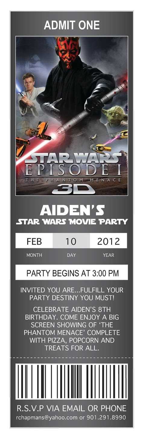 printable star wars movie tickets movie ticket birthday invitations star wars 9 95 via