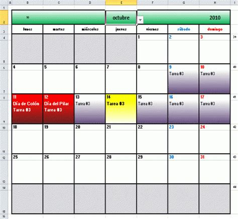 Tareas en un calendario como el que acabo de preparar en excel 2007