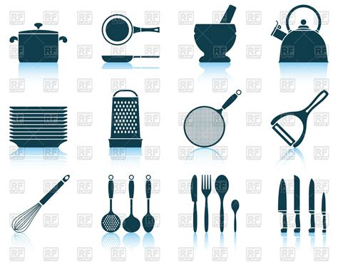 kitchen stuff set of cooking utensil icons kitchen stuff vector image