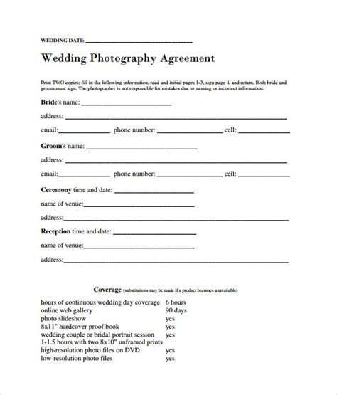 Sle Wedding Contract 14 Documents In Pdf Word Wedding Photography Contract Template Word