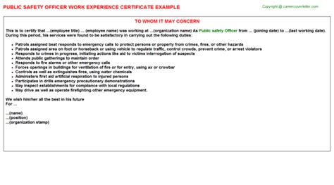 Experience Letter Officer Safety Officer Work Experience Certificates