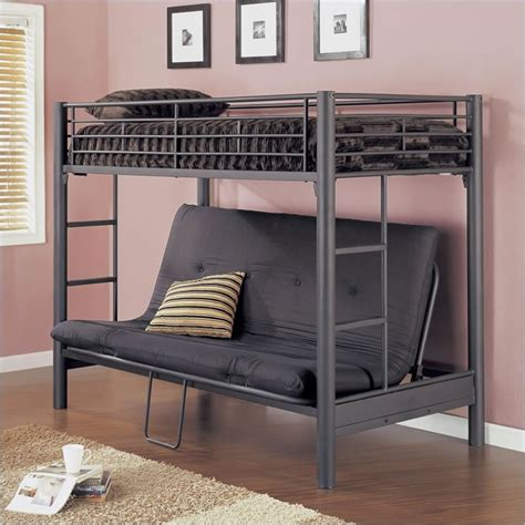 bunk beds futons and more powell matte black textured twin over futon metal bunk bed