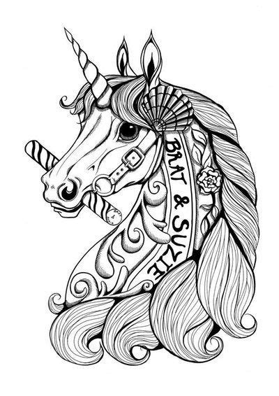 sin alley tattoo curly mane unicorn with marine shell and flower elements