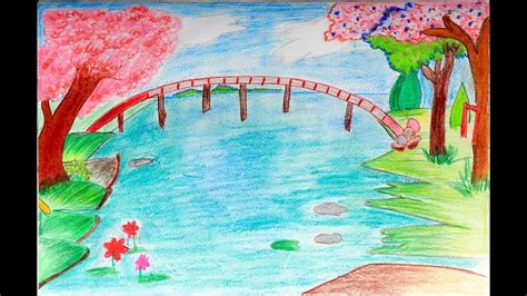 spring tutorial youtube kaushik how to draw a scenery of spring season easy drawing