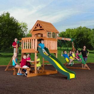 swing sets for sale kmart wood clubhouse swing set get your kids moving with kmart