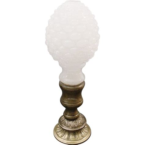 Bronze L Finial by Antique White Opaline And Bronze Finial