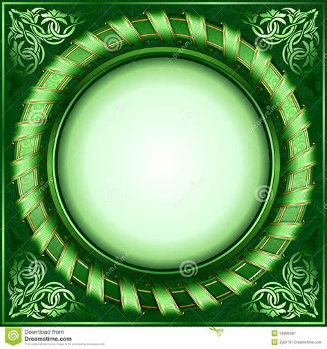 green vintage circle frame  ribbon stock vector