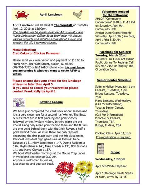 Avalon Senior Citizen Organization April 2016 Newsletter Avalon New Jersey American Legion Newsletter Template