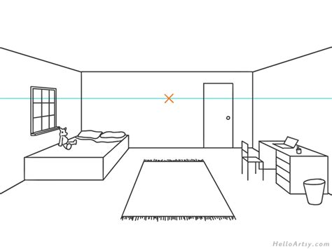 1 Point Perspective Bedroom - one point perspective drawing step by step guide for